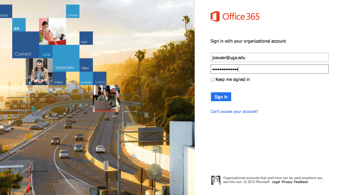 Office 365 login page example